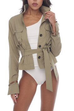 KHAKI BELTED SHIRT JACKET