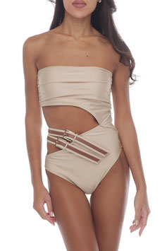 SHINY BEIGE BARE BROWN BELT MONOKINI