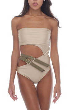 【COMING SOON】SHINY BEIGE BARE KHAKI BELT MONOKINI
