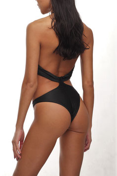 BLACK HALTER NECK CHEEKY CUT MONOKINI