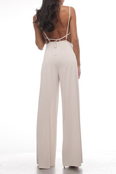 BEIGE COWL NECK JUMPSUIT