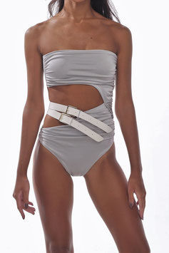 SHINY GRAY BARE BELT GATHERED MONOKINI