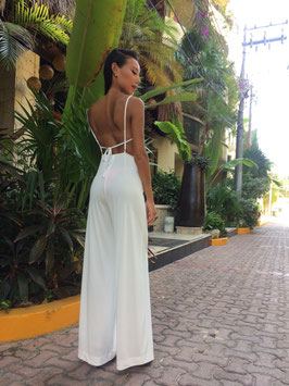 WHITE COWL NECK JUMPSUIT