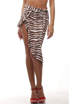 ZEBRA ASYMMETRY WRAP SKIRT