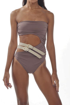 MOCHA BARE BELT GATHERED MONOKINI