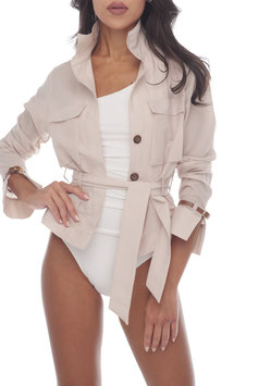 BEIGE BELTED SHIRT JACKET
