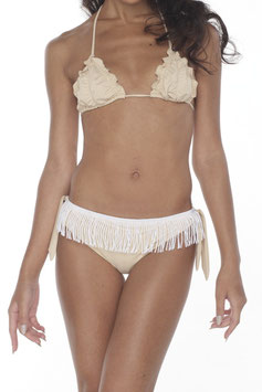 CREAM SHIRRING BIKINI TOP
