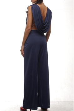 NAVY BLUE BACK DRAPE JUMPSUIT