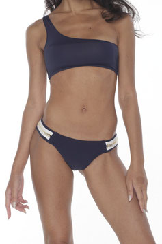 NAVY ONE SHOULDER BIKINI TOP