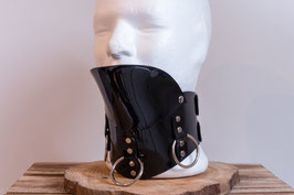 Halskorsett extrabreit mit Kinnstütze aus schwarzem PVC