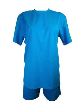 Pyjama Damen, Schlafanzug kurz, Farbe Aqua