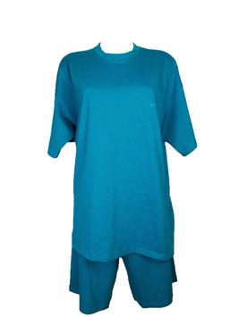 Pyjama Damen, Schlafanzug kurz, Farbe Adriatic