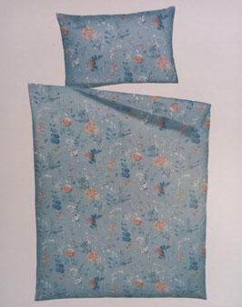 Satin Bettwäsche Marke Home Fashion Dessin Blau mit Blumen