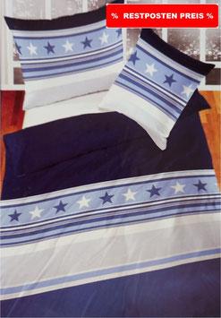 Baumwoll Bettwäsche Dessin Stars Blau