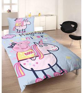 Jugend- und Kinderbettwäsche Peppa Pig Magical Unicorn