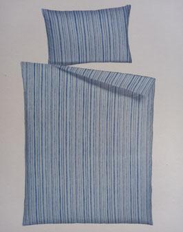 Satin Bettwäsche Marke Home Fashion Dessin Blau gestreift