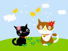 15×20-猫とチョウチョ