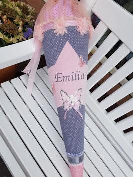 """Sehr edle Zucker- / Schultüte """"Emilia - zartrosa mit großem Stern, Pailletten-Schmetterlings-Applikation, viel Rüsche mit passenden Bändern"""