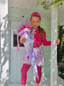 """Kombi Zucker- / Schultüte """"Einhorn"""" mit Kleidchen - fein verziert, in zartem Rosa-Violett"""