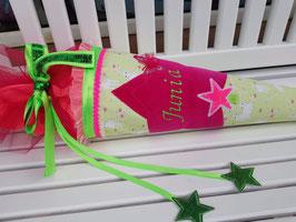 """Zucker- / Schultüte """"Junia"""" - pink mit zartgrün mit Sternen-Applikationen"""