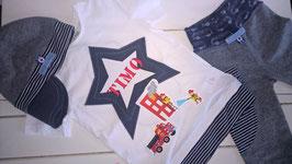 """3 teiliges Geburtstagsset """"Timo"""" - bestehend aus Geburtstags-Shirt, 3/4 Short-Leggins und Schirmmütze"""