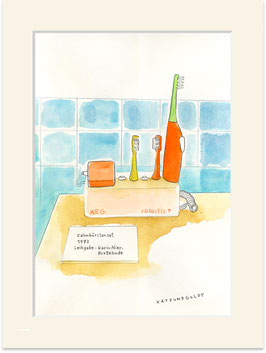"""Originalzeichnung """"47 Jahre alte elektrische Zahnbürste aus Buxtehude"""""""