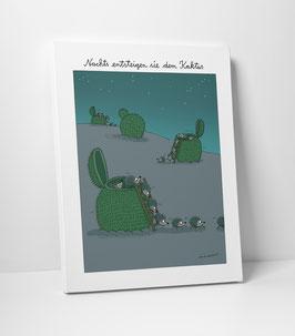 """Leinwanddruck """"Nachts entsteigen sie dem Kaktus"""" 30 x 40 cm"""