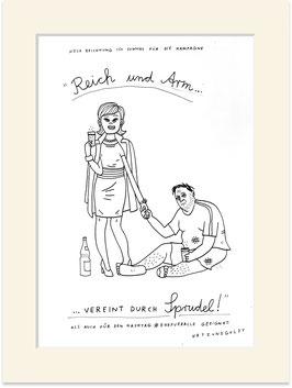 """Originalzeichnung """"Diese Zeichnung ist sowohl für die Kampagne """"Arm und Reich vereint durch Sprudel"""" als auch für den Hashtag #ehefueralle geeignet."""""""