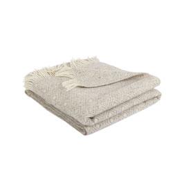 Decke 100 % Merinowolle  silbergrau-gemustert 130x190 cm mit Fransen