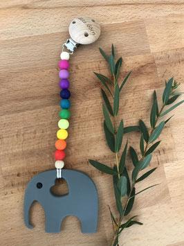 Beißkette mit Elefant - Regenbogenfarben