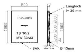 Podestrost mit Seitenbacken und Antrittskante MW 30x30 mm
