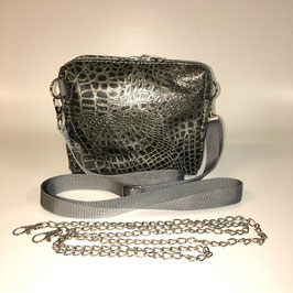 JaMia® MINICLUTCH schwarz-olive-grau Schlangenmuster