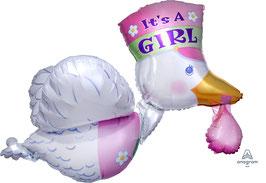 "Folien Ballon 23"" x 32"" bundle of joy stork it's A Girl"