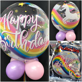 Birthday Rainbow Unicorns Single Bubble 22in/55cm