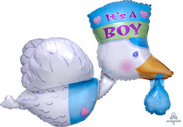 "Folien Ballon 23"" x 32"" bundle of joy stork it's A Boy"