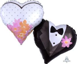 "Folien Ballon 25"" x 30""XXL -Wedding Couple Hearts"