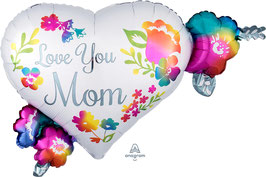 "Folien Ballon 27"" x 20"" - Love You Mom"