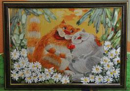 """Картина с вышивкой лентами по принту  """"Влюбленные кошки с ромашками"""""""