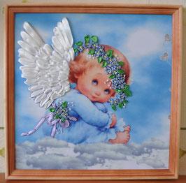 """Картина с вышивкой лентами по принту """"Голубой ангел"""""""