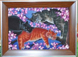 """Картина с вышивкой лентами по принту  """"Кошачьи сны"""""""