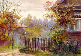 Осенний клен у дома (П-86)