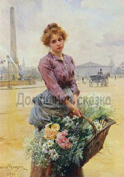 Девушка с корзиной цветов (Л-17)