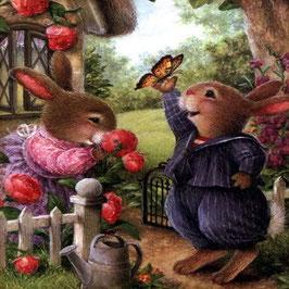 Кролики с бабочкой  ( М-38)