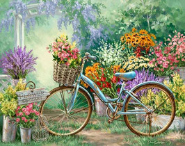 Велосипед с цветами, (П-117)