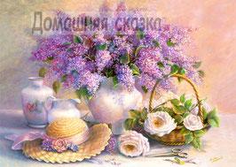 Натюрморт с сиренью, розами,  шляпкой (Ц-13)