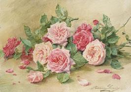 Розы на кремовом фоне (ЦР-7)