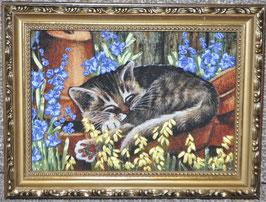 """Картина с вышивкой лентами по принту  """"""""Спящий котик"""""""