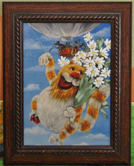"""Картина с вышивкой лентами по принту  """"На воздушном шаре"""""""