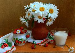 Ромашки, молоко, клубника (Ц-36)