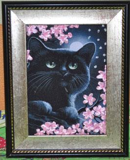 """Картина с вышивкой лентами по принту  """"Черный кот с цветами"""""""